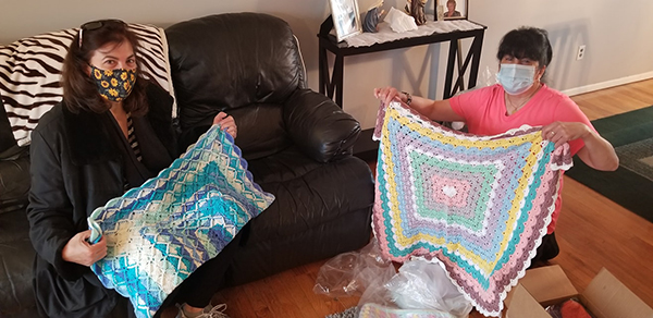 donation of hand-crocheted items for the needy